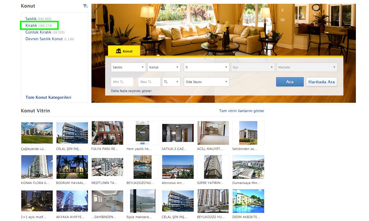 К слову, на сайте можно и машину арендовать, и купить квартиру, и арендовать офисное помещение. Далее выбираем в фильтре Kiralik (аренда). Здесь, кстати, есть и продажа (Satilik), и посуточная аренда (Günlük Kiralık).