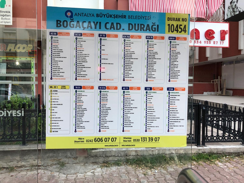 Расписание автобусов в Анталии